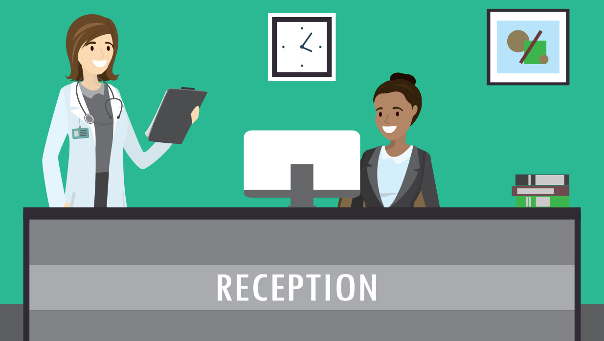 vector image receptionist at desk with doctor